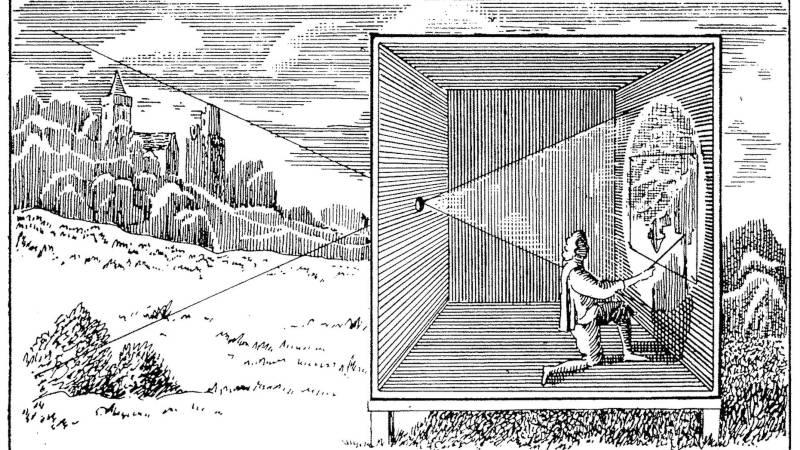 Camera obscura, lyukkamera működés közben